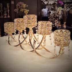 Dekor Arya - 5 Li Kristal Taşlı Gold Yatay Mumluk