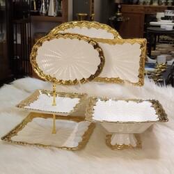 Elegant 5 Parça Gold Sunumluk Set - Thumbnail