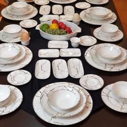 Dekor Arya - 56 Parça Beyaz Mermer Kahvaltı & Yemek Takımı