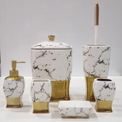 7 Parça Banyo Seti Altın Siyah Desen - Thumbnail