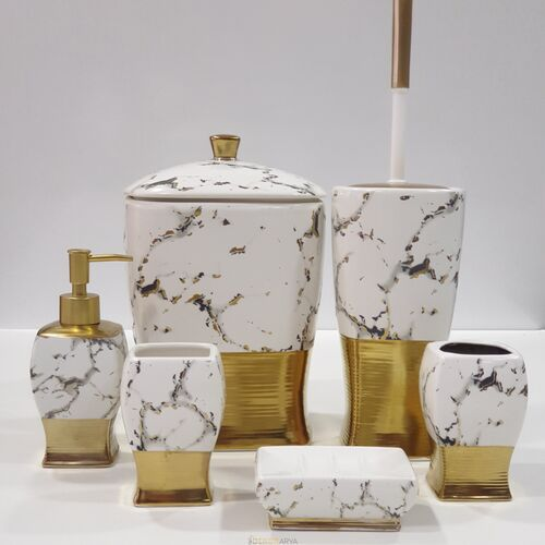 7 Parça Banyo Seti Altın Siyah Desen