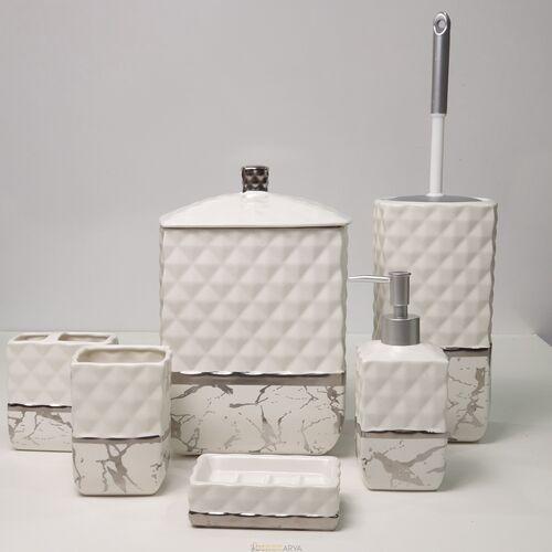 7 Parça Banyo Seti Mermer Gümüş