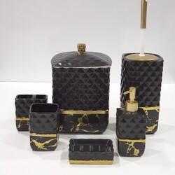 7 Parça Banyo Seti Mermer Siyah Altın - Thumbnail