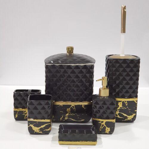7 Parça Banyo Seti Mermer Siyah Altın