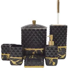 Dekor Arya - 7 Parça Banyo Seti Mermer Siyah Altın