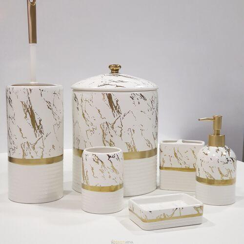 7 Parça Banyo Seti Örgü Altın