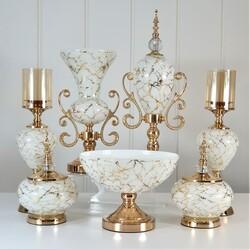 Dekor Arya - 7 Parça Lux Salon Takımı Beyaz Gold