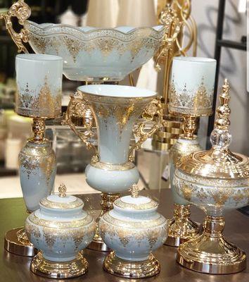 7 Parça Lüx Salon Takımı Bebe Mavisi Gold