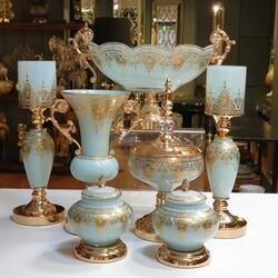 Dekor Arya - 7 Parça Lüx Salon Takımı Bebe Mavisi Gold