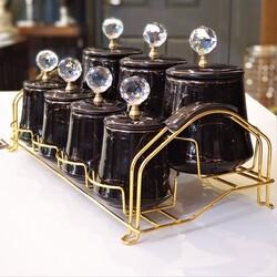 Dekor Arya - 8 Parça Kristal Taşlı Siyah Mermer Desen Gold Standlı Baharat Takımı