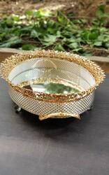 Dekor Arya - Altı Gümüş Üstü Gold Oval Tepsi 46cm