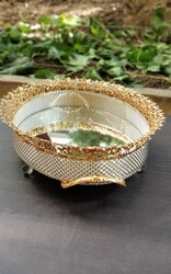 Dekor Arya - Altı Gümüş Üstü Gold Oval Tepsi 50cm