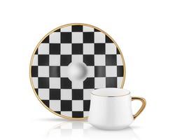 Koleksiyon - Altılı Dama Desenli Kahve Fincan Takımı