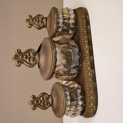 Porio - Altın Amber Cam Dekoratif Üçlü Kavanoz