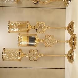 Dekor Arya - Altın Çiçek Detaylı Amber Camlı Mumluk 12*12*45/52/57 Cm
