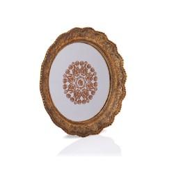Porio - Altın Dantel İşlemeli Yuvarlak Aynalı Tepsi