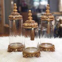 Dekor Arya - Altın Kapaklı Üçlü Dekoratif Kavanoz