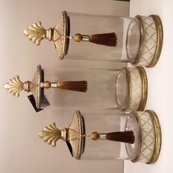 Porio - Krem Kapaklı Üçlü Dekoratif Kavanoz