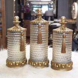 Dekor Arya - Altın Amber Cam Üçlü Kavanoz