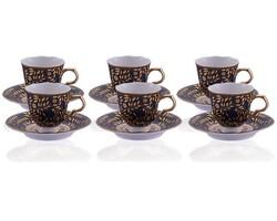 Dekor Arya - Altın Yapraklı Türk Kahve Fincan Takımı