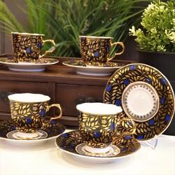 Porio - Altın Yapraklı Türk Kahve Fincan Takımı
