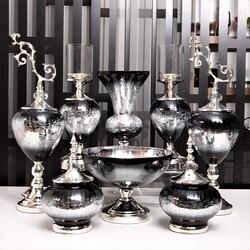 Esmer Hediyelik - Art Siyah Gümüş 7 Parça Salon Aksesuarı