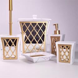 Dekor Arya - Beyaz-Gold Beş Parça Banyo Takımı