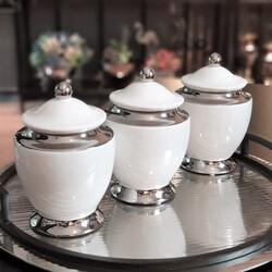 Dekor Arya - Beyaz-Gümüş Porselen Kavanoz
