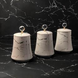 Dekor Arya - Beyaz Mermer 20Cm Porselen Kavanoz Seti