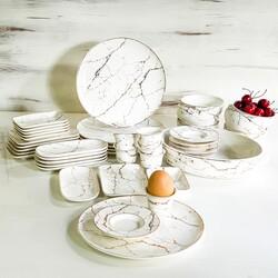 Deco Vien - Porselen Kahvaltı Takımı 43 Parça Beyaz Mermer