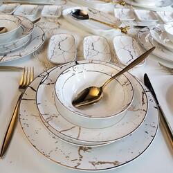 Dekor Arya - Beyaz Mermer 76 Parça Kahvaltı & Yemek Takımı