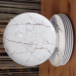 Deco Vien - Beyaz Mermer Desen 23 cm Servis Tabak