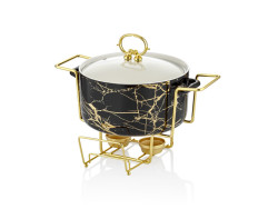 Lamedore - Siyah Altın 26 Cm Yuvarlak Servıs Kabı(4)