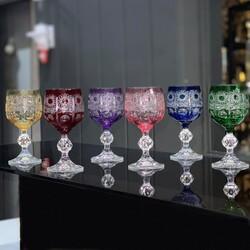 Dekor Arya - Bohemia Sterna 6'lı Kahve Yanı Renkli Bardak Takımı Göz Desen
