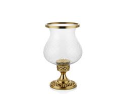 Lamedore - Bright Elmas Kesim Camlı Gold Mumluk 14X14X33 Cm