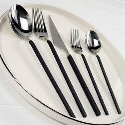 BRONDOFF - Brondoff 30 Parça Çatal Kaşık Takımı Silver Siyah