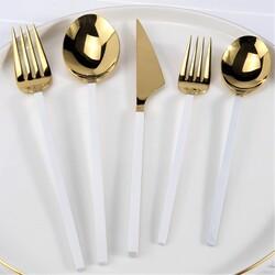 BRONDOFF - Brondoff 30 Parça Gold Çatal Kaşık Takımı Beyaz