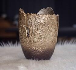 Lamedore - Bronz-Altın Parçalı Vazo Küçük
