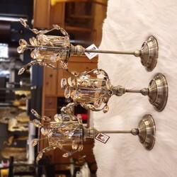 Porio - BRONZ KRİSTAL ŞEKİLLİ AMBER CAMLI MUMLUK 16*16*33-39-45 cm