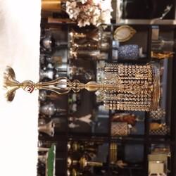 Dekor Arya - Bronz Taç Ayaklı Kristalli Dekor Büyük