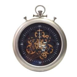 Dekor Arya - Çarklı Duvar Saati Gümüş