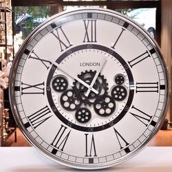 Deco Vien - Çarklı Duvar Saati Silver Beyaz 55 cm