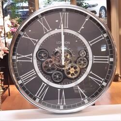 Deco Vien - Çarklı Duvar Saati Silver Siyah 55 cm