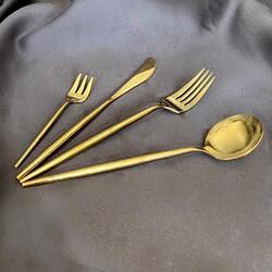 Deco Vien - Çatal Bıçak Takımı 24 Parça Gold
