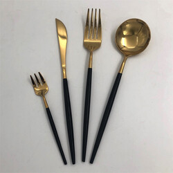 Deco Vien - Çatal Bıçak Takımı 24 Parça Gold Siyah