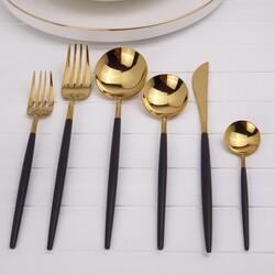 Deco Vien - Çatal Bıçak Takımı 36 Parça Gold Siyah