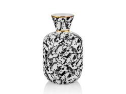 Lamedore - Dalmatien İnce Ağızlı Siyah Gold Vazo