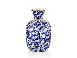 Lamedore - Dalmatien Mavi İnce Ağızlı Gold Vazo