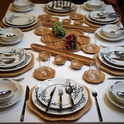 Dekor Arya - Dekor Arya 87 Parça Yemek & Kahvaltı Takımı Siyah Çiçekli