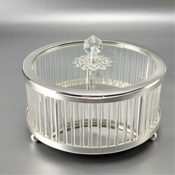Dekor Arya - Dekoratif Kutu - Silver 16*16*11 Cm